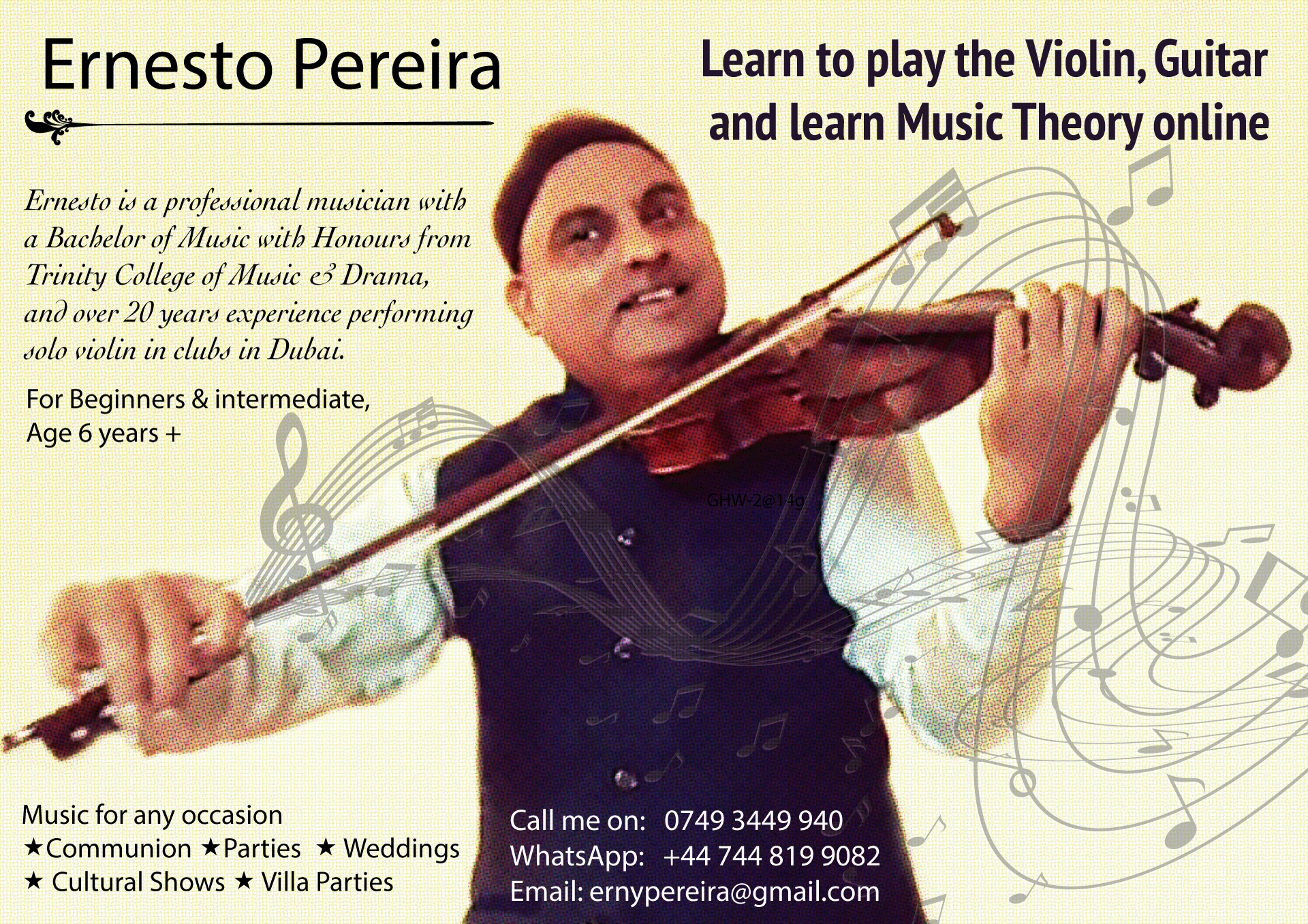 Learn violin, guitar and music notation online with Ernesto